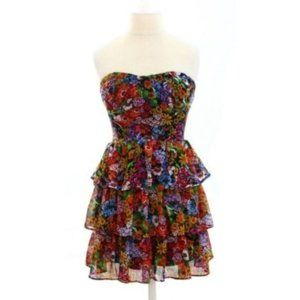 Strapless Floral Ruffle A-Line Dress